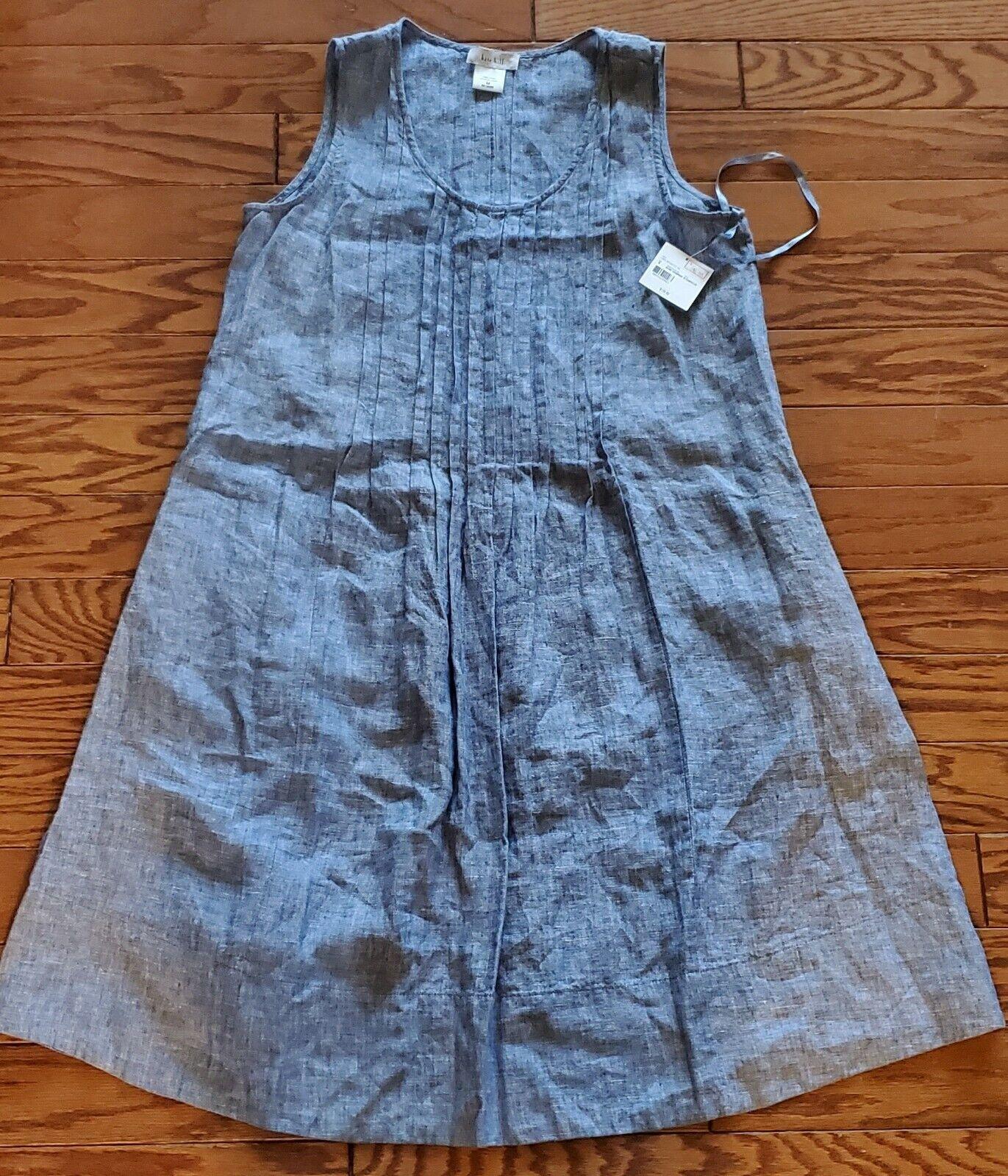 Kate Hill 100% Linen Women's Dress Azure Chambray Size M