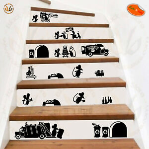 Adesivi Murali Per Scale.Details About Mouse Nice Family Wal Sticker Adesivi Murali Topini Decora Scale Scontornati Pvc