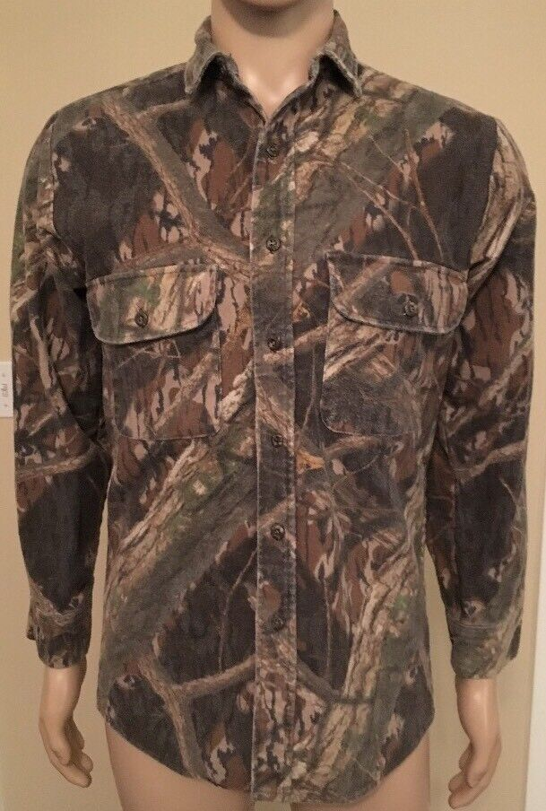 Vintage Mossy Oak Camo Long Sleeve Button Down Shirt USA Made Size Small