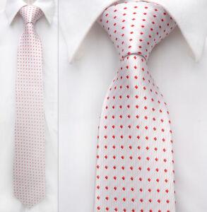 White-Red-Dot-Men-Neckwear-Handmade-100-Woven-Silk-8-cm-Wedding-Tie