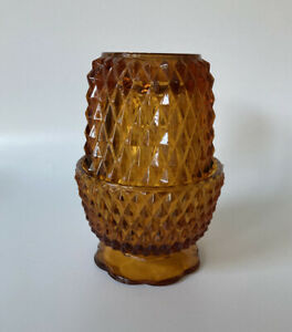 Vintage-Indiana-Glass-Fairy-Lamp-Candle-Holder-Amber-Diamond-Point-5-25-034-H-USA