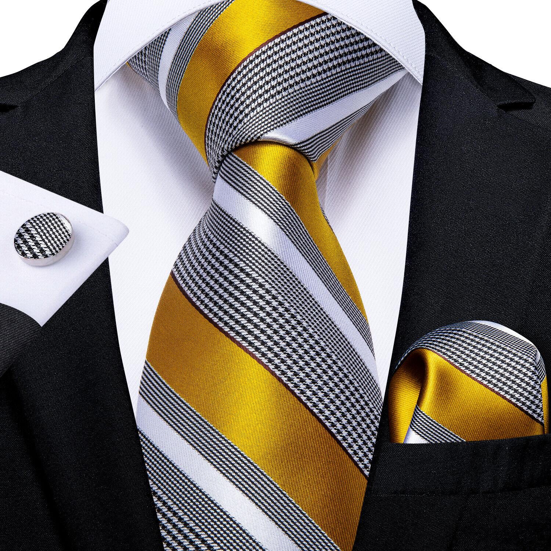 UK DiBanGu Luxury Gold Striped Men Tie Silk Jacquard Necktie Hanky Cufflinks Set