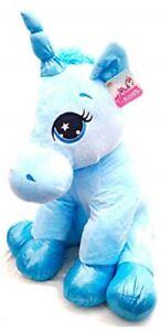 Unicorn Sitting Plush 40cms - Sv14731 Doux câlin, peluche magique scintillant violet, bleu, rose, 3 (un de chaque)