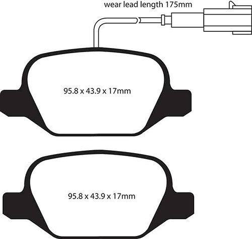 DP21430//2 EBC GreenStuff Rear Brake Pads for Alfa Romeo MiTo 1.4 Turbo 170 2010
