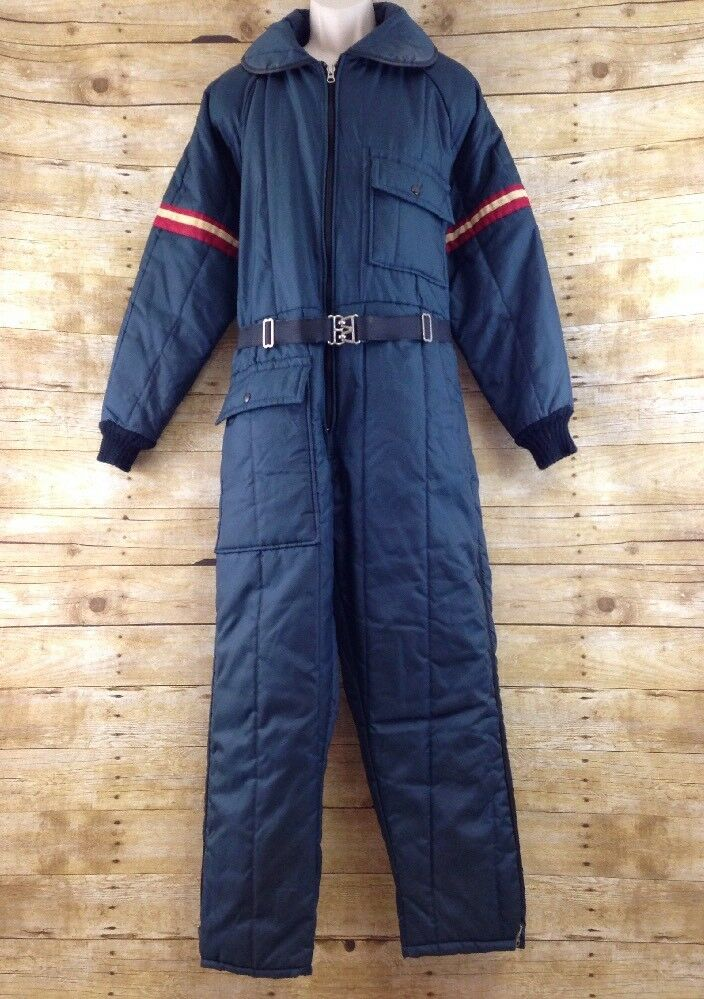 Vtg JcPenney Snowmobile Snowsuit Men Medium bluee One Piece Insulated 70s 80s USA