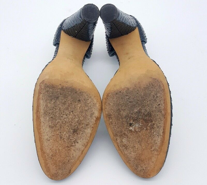 TRACY REESE Größe 36.5 6.5 Blau Snakeskin D'orsay Round Toe High High Toe Heel Schuhes add4af