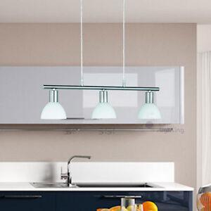 Lampadario moderno acciaio cromato lampada sospensione vetro bianco ...