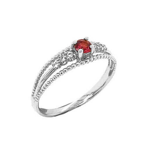 Solid Gold  Genuine Ruby and Diamond Modern Engagement//Promise Ring