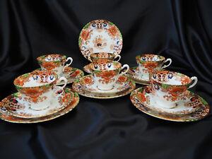 Antique-Samuel-Radford-1890s-Imari-Style-6-x-Tea-Cup-Trio-amp-More-1055