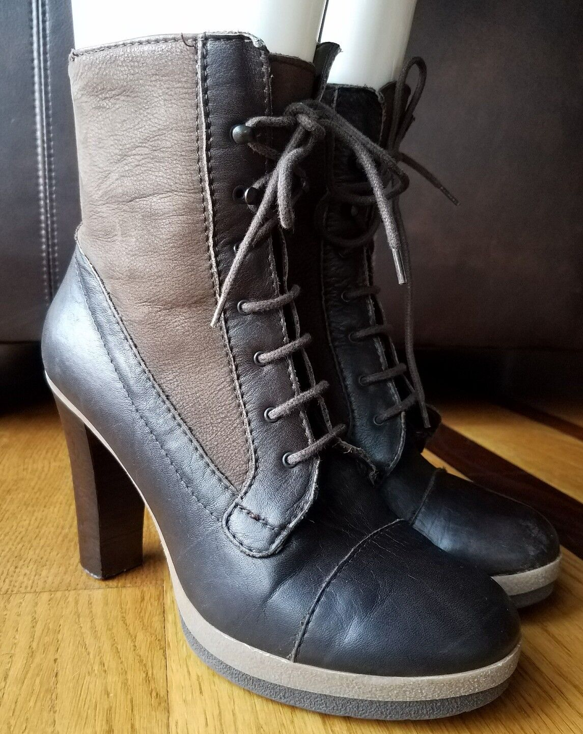 PENNYBLACK Womans Heeled Boots Brown Leather Lace Up/Side Zip Combat Sz 39 Italy