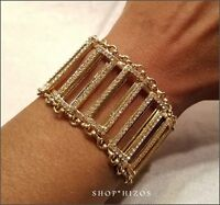 Gold Metal Thick Pave Crystal Figaro Clasp 7 Bracelet