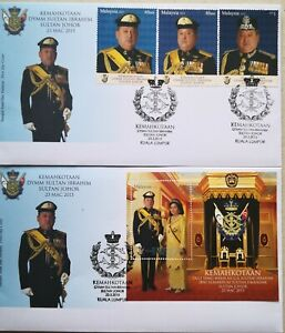 Malaysia FDC with MS & Stamps (23.03.2015) - The Coronation of Sultan Johor