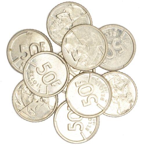20 CENTIMES 50 FRANCS BELGIUM PRE-EURO COINS 1951-2001 LOT 10 BELGIAN COINS