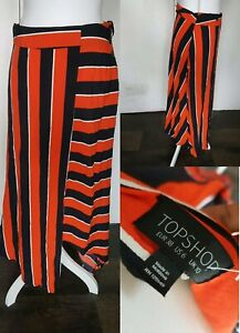 Topshop-Stripe-Midi-Asymmetric-Skirt-UK-10-Trending