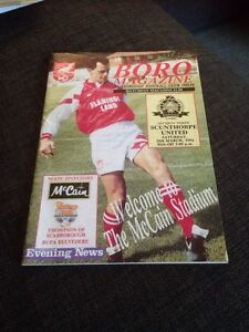 Scarborough V Scunthorpe United 1994 Soccer/football Programme