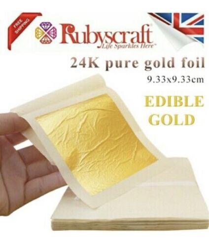 1pc Edible Gold Leaf Sheets 9.33cmx9.33cm 24 Carat Decor Edible Silver available