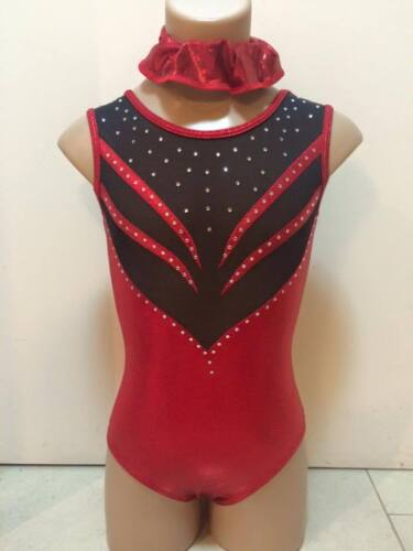 NEW RED BLACK LEOTARD HIGH QUALITY Child S 46cm Girls 6 Gymnastics Dance Ballet