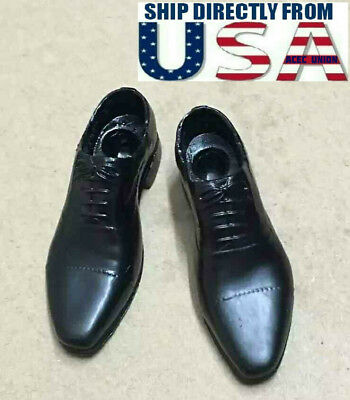 """1//6 Scale Apron Toe Oxford Shoes BLACK For Hot Toys 12/"""" Male Figure USA SELLER"""