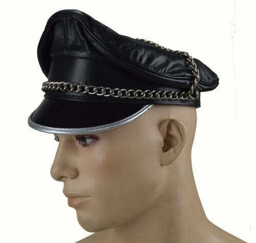 berretto ufficiale Aw-0056 Muir Cap pelle liscia visiera Leather Biker Berretto Cappello