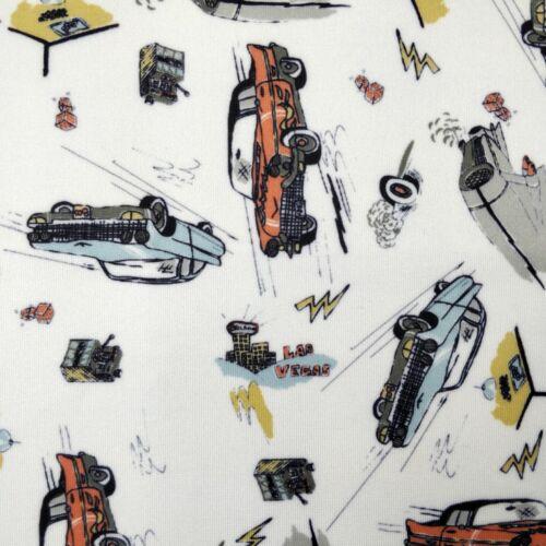 FS297 Vintage Voiture Imprimer base blanche de haute qualité Jersey Extensible Scuba Tissu