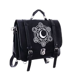 Restyle-Moon-amp-Alchemical-Symbols-Occult-Gothic-Faux-Leather-Satchel-Hand-Bag