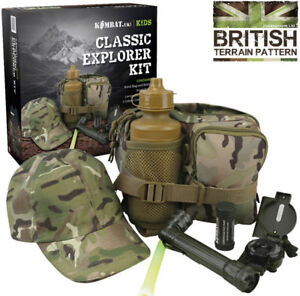 Kids Boys Army Childrens Military Outdoor Play Explorer Set Kit Outfit Hat Torch