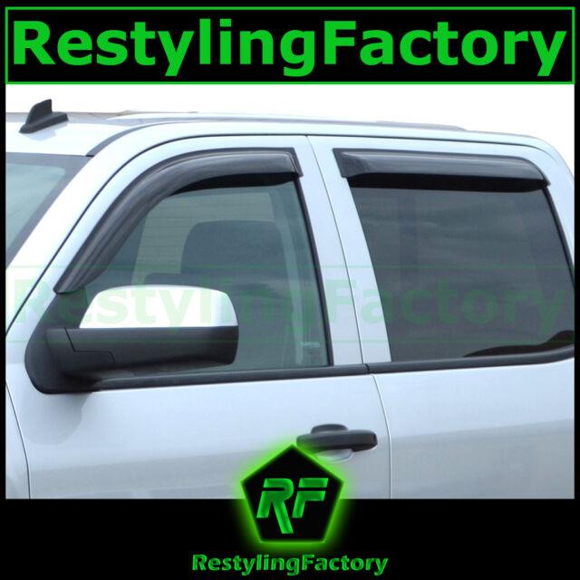 15-16 Silverado 2500+3500 CREW CAB Smoke Tint 4 Door Window Visor Rain Sun Guard