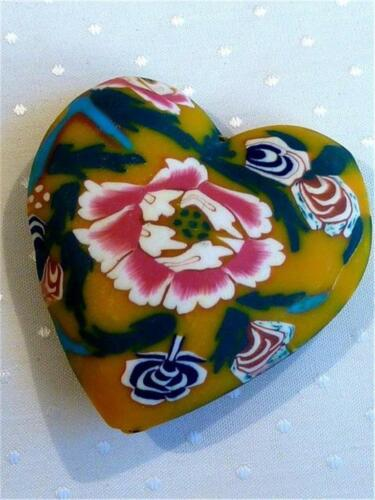 POLYMER CLAY P925...LARGE PUFFED HEART PENDANT FLOWERS 48mm
