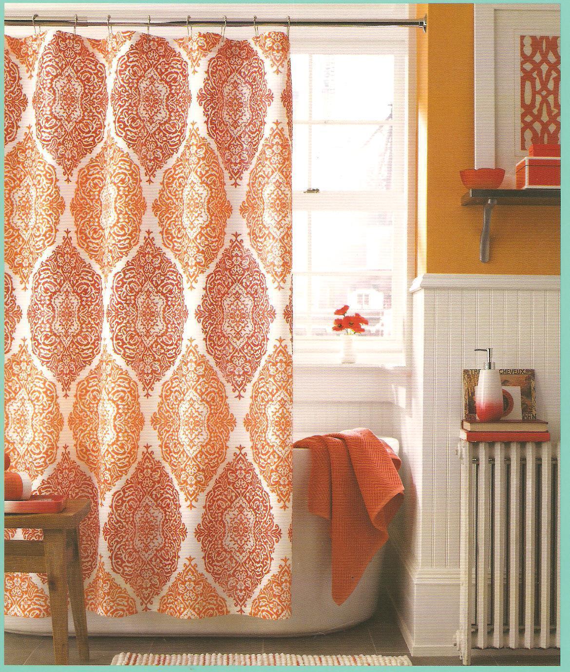 J Queen New York Shower Curtain Roma Dark Orange Sienna Bathroom For Sale Online