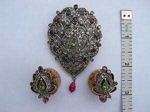 Womens Jewelry Set Of Earrings And Pendant, Silver, Semi-precious stones