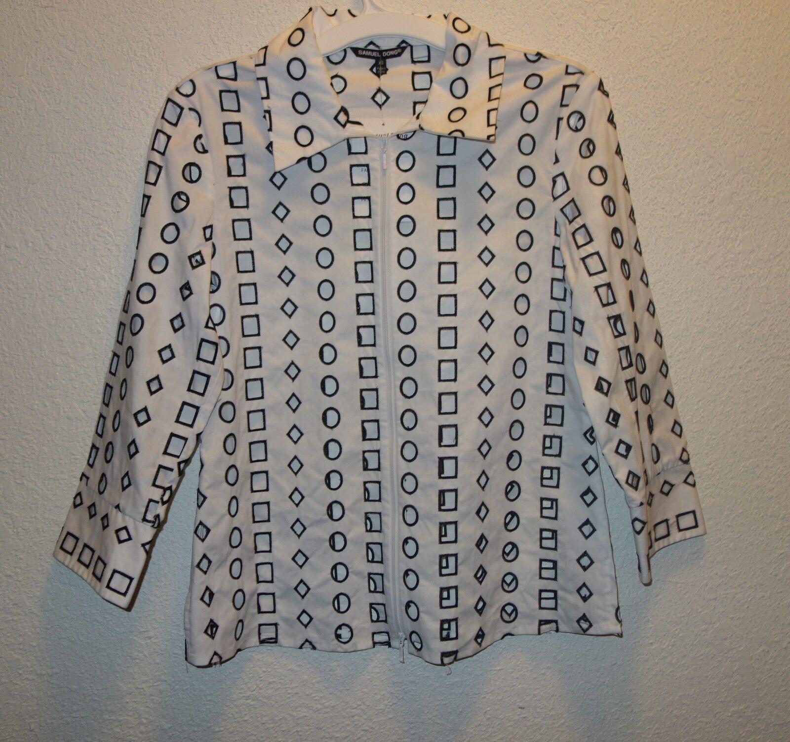 SAMUEL DONG geométrica Lasercut  blancoo Negro Algodón Camisa De Vestir XS Nuevo  últimos estilos