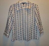 Samuel Dong Geometric Lasercut White Black Cotton Dress Shirt Xs