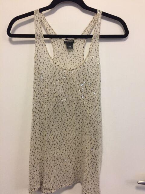 Club Monaco Women's Medium Holiday Tank Top Blouse White Black Sequin 100% Silk