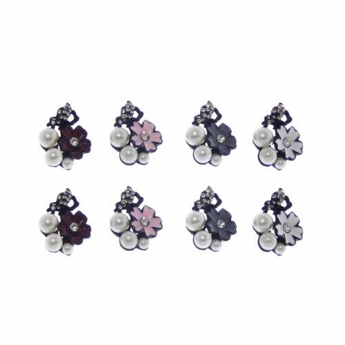 Paquete De 4 flores de esmalte de varios colores Encantos Colgantes 24x18 mm Manualidades Hágalo usted mismo