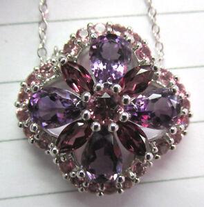 Quality Pink Tourmaline, Amethyst & Garnet Necklace / Pendant 18 inch 14k WG