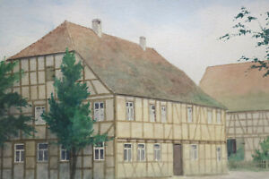Gustav Müller Aquarell Fachwerkhaus in Ickelheim Aisch Juli 1976