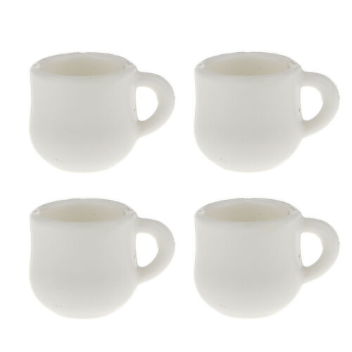 Doll House Miniature White Coffee Water Tea Cups 1//12 Scale Dining Ware
