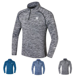 Men-039-s-Compression-Base-Layer-1-4-Zip-Mock-Neck-Top-Sports-Shirt-Moisture-Wicking