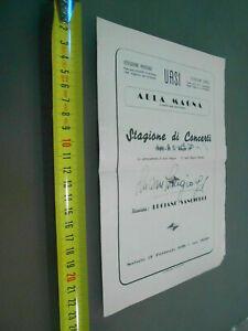 LIBRETTO UASI AULA MAGNA PIANISTA LUCIANO SANGIORGI 1951 AUTOGRAFO AUTOGRAFATO