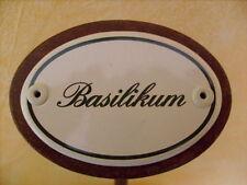 Kräuterschild Kräuterstecker Pflanzschild Emaille Basilikum  25cm