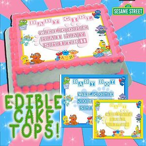 Sesame street baby shower edible cake toppers picture decal transfer boy girl ebay - Sesame street baby shower ...