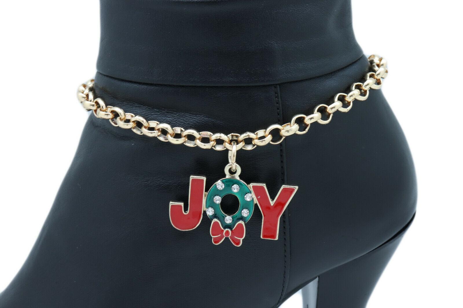 Women Gold Metal Chain Boot Bracelet Anklet Shoe Bow JOY Charm Christmas Jewelry