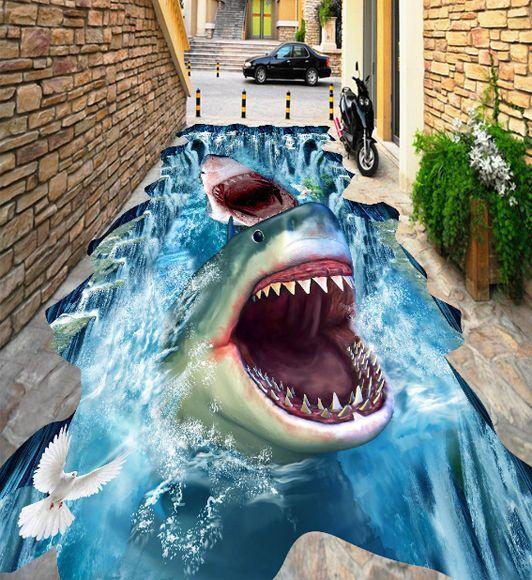 3D Autocollant Requin 04 Fond d'écran étage Peint en Autocollant 3D Murale Plafond Chambre Art 1b829b