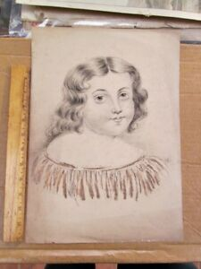 """Vintage PEN & INK Drawing,YOUNG GIRL,Signed,Dated 1837,15""""x 10 3/4"""""""