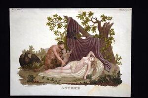 Antiope-Nitteo-Polisso-Incisione-colorata-a-mano-del-1820-Mitologia-Pozzoli
