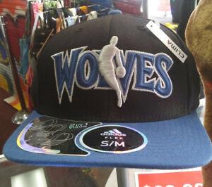 Memorabilia Nba Minnesota Timberwolves Adidas Structured Flex Fitted Cap Flat Brim Hat New
