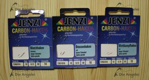 gebunden 10er Päckchen Jenzi Carbon-Haken Wettkampf- Brassenhaken Match