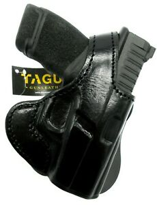 TAGUA PREMIUM RH Black Leather Thumb Break Rotating PADDLE Holster for HELLCAT