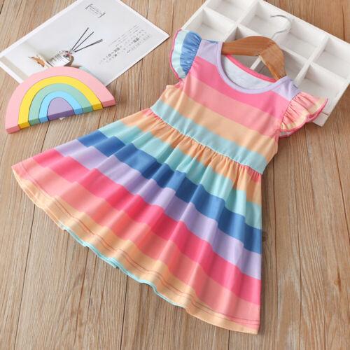 Toddler Baby Girl Clothes Rainbow Stripes Cotton Dress Summer Tutu Skirt Dress