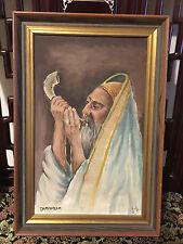 Vintage Judaica Oil on Canvas Rabbi Blowing Shofar Jerusalem